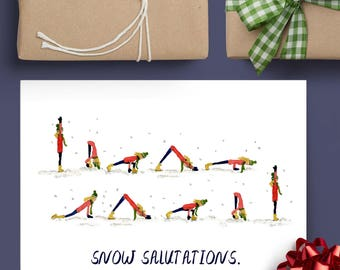 8 Pack Assorted Yoga Holiday Cards Choose Your Own Blank Inside