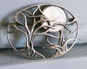 Sterling Silver 925 Trees and Moon Brooch