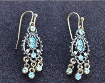 On sale Dainty Vintage Blue, Green Rhinestone Chandelier Pierced Earrings, Brass (AO4)
