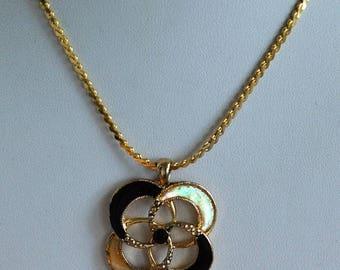 "On sale Black, Beige Enamel Circle Necklace, Gold tone, Vintage, 15"" (AR7)"