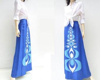 70s Maxi Skirt Marimekko Style Silk Vintage Maxi Skirt 1970s Mod Maxi Skirt 70s Mod Op Art Skirt Scandinavian Design Finnish Blue White s, m