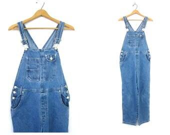 Vintage Jean Bib Overalls Denim Carpenter 1990s Engineer Work Pants Blue Farmer Bibs workwear Jeans Women's Size Large