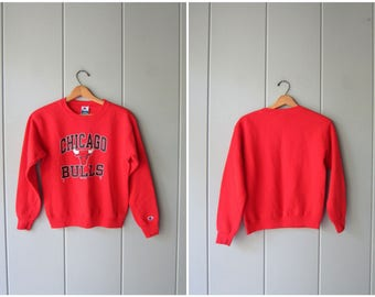 Vintage 80s 90s Chicago Bulls Sweatshirt Red Cotton Basketball Sweatshirt Sports Champion Sweater Small Fit Athletic NBA Sweater Womens XS
