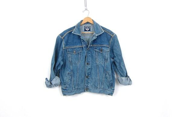 Vintage Denim Jacket PEPE 80s Jean Jacket Vintage Blue Jean Coat Hipster Fall Jacket Oversized Denim Coat Trucker Women's Size Medium Large