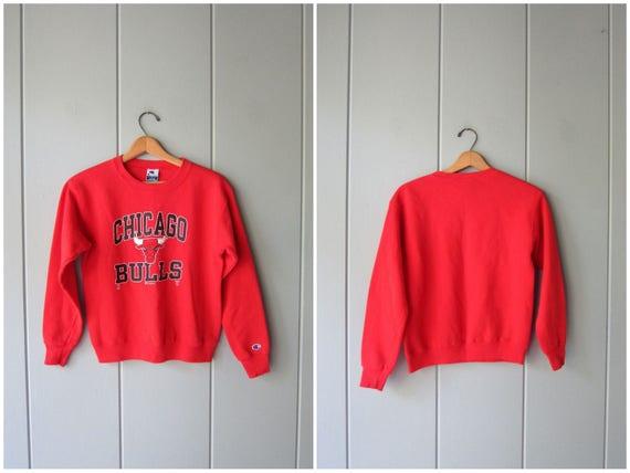 Vintage 80s 90s Chicago Bulls Sweatshirt Red Cotton Basketball Sweatshirt Sports Champion Sweater Small Fit Athletic NBA Sweater Womens XS
