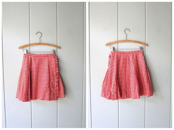 Wool Mini Skirt Red White Herringbone Skirt Vintage 50s 60s Skirt Miniskirt Mod School Girl Fringed Checkered Cheerleader Pleated Skirt XXS