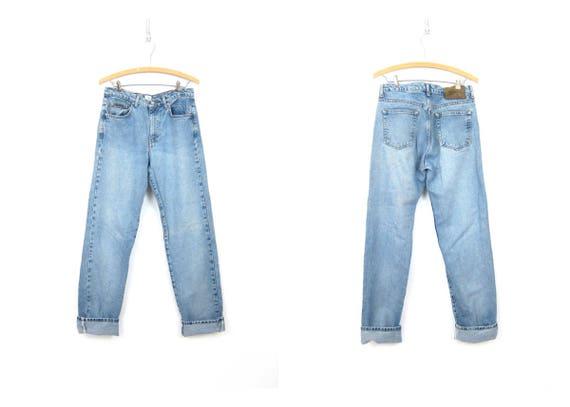 90s Calvin Klein Light Wash Jeans High Waist Sandblast Denim High Rise Hipster Mom Jeans Vintage Womens Size 7 / 32 Inseam