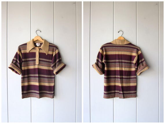 70s Knit Shirt Short Sleeve Striped Knit Tee Vintage Thin Wool Knit Retro Top Brown Maroon Blue Hip Preppy Hipster Womens Small Medium