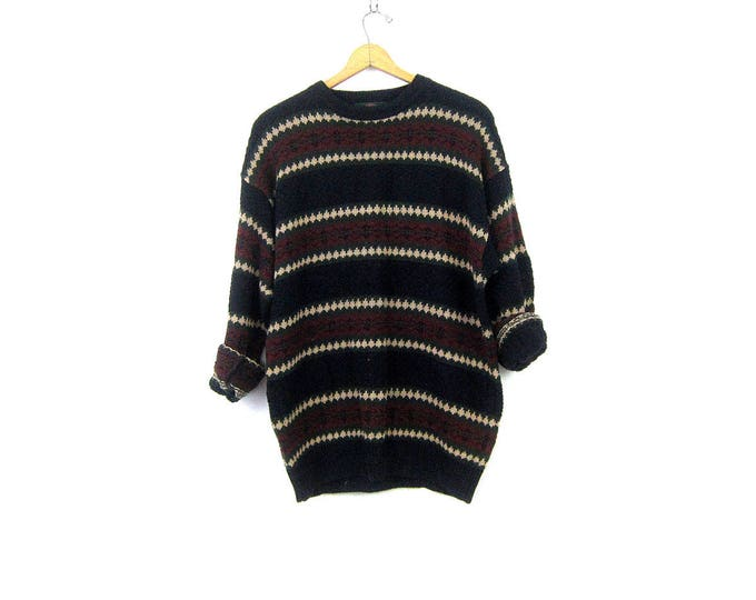 Long Knit Boyfriend Sweater 90s Cotton Ramie Pullover Sweater Textured Black Red Green Striped Preppy Sweater Size Large Tall