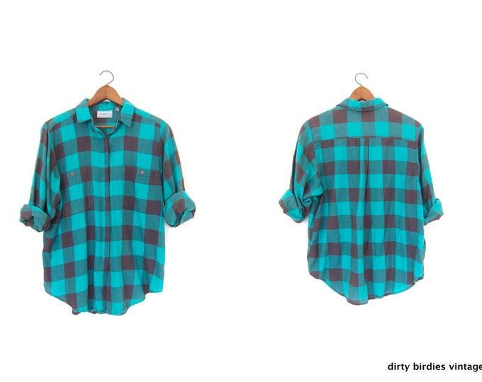 80s Checkered Shirt | Buffalo Plaid Shirt | Green Black Check Vintage THIN Flannel Shirt Button Up Grunge Button Down Shirt Womens Large