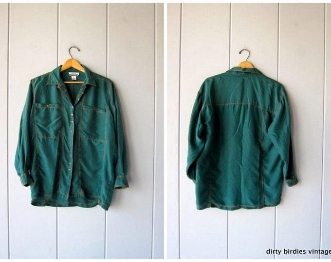 Dark Green Silk Blouse Slouchy Button Up 90s Silk Shirt Minimal Loose Fit Silk Shirt 1990s Western Top Vintage Womens Small Medium