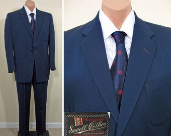 Early 1950s Vintage Navy Blue Wool Gab Suit with Patch Pockets SZ 38