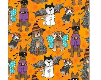 Halloween Dogs in Costumes on Orange - Fabric Traditions Cotton YARD