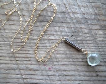 Rutilated Quartz & Antique Glass Necklace