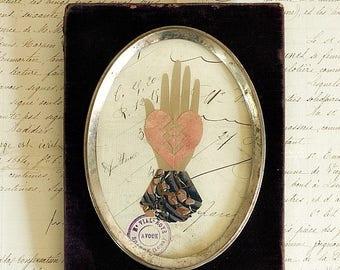 Antique Purple Velvet Frame with Heart in Hand Love Token, French Document, Postmark, Anniversary Wedding Engagement Friendship Valentine