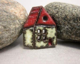 Rustic Ceramic House Button...English Cottage...Red Roof