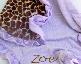 SALE Lavender and Giraffe Minky Blanket Can Be Personalized