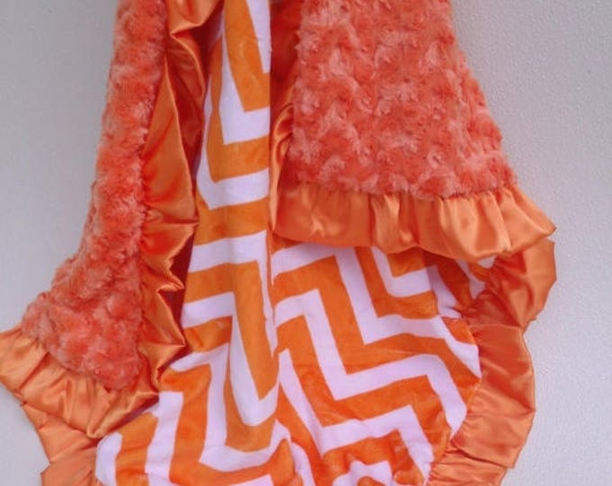 SALE Orange Chevron Minky Baby Blanket, also for toddler or teen Can Be Personalized