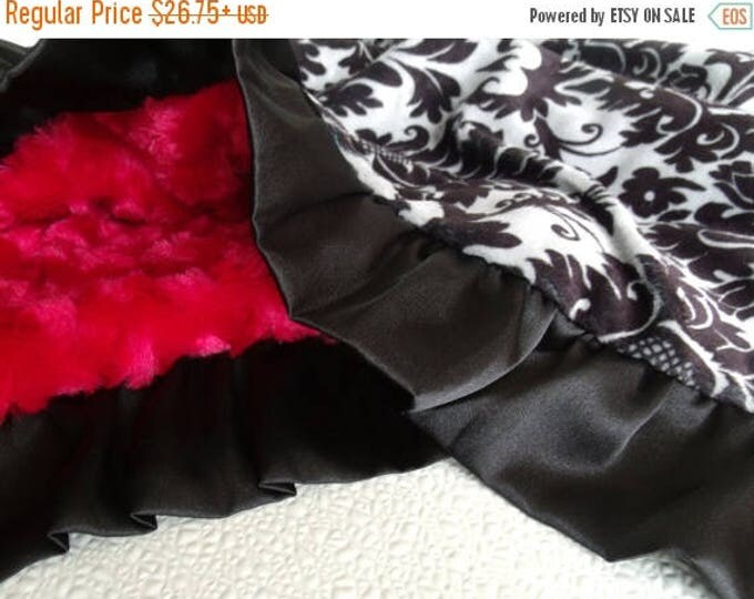 SALE Minky Baby Blanket in Red Rose Swirl and  Black and Gray Damask Can Be Personalized