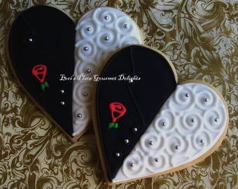 Tux and gown Wedding Cookies - Wedding Day Bliss -  Heart Wedding Cookie Favors - 5.00 each