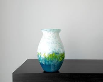 Handblown glass vase in Mint Green, White, Blues and Greens, Wedding Gift, Birthday gift, Blown Glass, Art, Unique Flower Vase