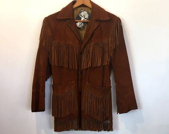 Vintage Joo Kay brand Fringe Suede Jacket Coat Outerwear Suede Jacket Suede Fringe Jacket