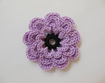 Crocheted Flower - Lilac with Black - Cotton Flower - Crocheted Flower Applique - Crocheted Flower Embellishment