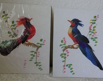 Birds on Paper Boards, FEATHER BIRDS and Watercolor