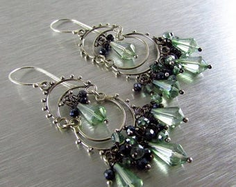 25 OFF Mystic Green Quartz and Black Spinel Sterling Silver Artisan Chandelier Cluster Earrings