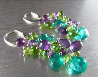 25 OFF Colorful Aqua Green Quartz With Amethyst And Peridot Sterling Silver Cluster Dangle Earrings