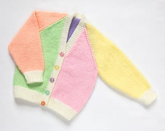 Baby Girls Harlequin Cardigan. Hand Knit Cardigan. Hand Knit Childrenswear.