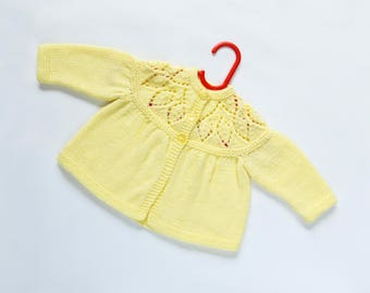 Traditional Style Baby Matinee Coat - Lemon - Hand Knit Baby Cardigan.
