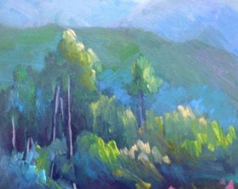 "Small Oil Landscape, Original Oil Painting, Mountain Landscape, 6x8"" Oil on Panel"