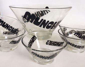 Vintage Glass Snack Bowl Set of Six , Munchies Black Typography, 80's Type Retro Bowl, Popcorn Bowls