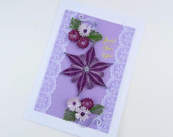 Free Shipping-Paper Quilled Purple Daisy - Paper Quilling- Birthday- Purple Lavender Fringed Flowers -Thinking of You-Vintage Lace