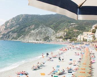 Italy Photography, Summer in Monterosso, Cinque Terre Italy, beach photography, Italian home decor, blue umbrellas, summer in italy