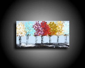 Small Abstract Painting Acrylic Original Painting Modern Canvas Wall Art 12 x 6 Zen Painting Blue Green White Purple Red Tree Art