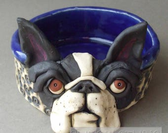 Boston Terrier Ceramic Dog Bowl