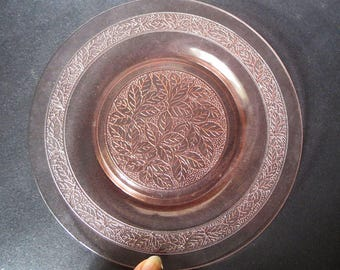 12 Pink Leaf Pattern Depression Glass Lunch Plates MacBeth Evans