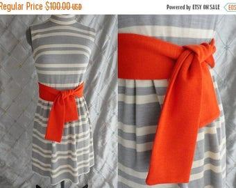 "ON SALE 60s Dress //   Vintage 1960's Light Gray and White Knit Dress by Jonathan Logan Orange Belt Size S 25"" waist"