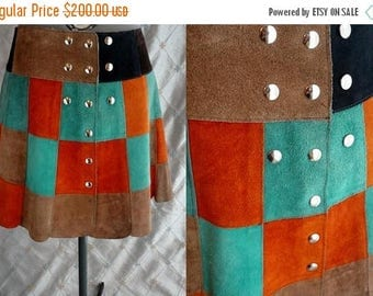 """ON SALE 60s 70s Skirt //  Vintage 60s 70s Suede Leather Patchwork Mini Skirt by Eurostyle Italy Sz M L 30"""" waist snaps"""
