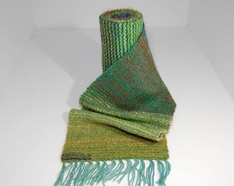 Hand Woven Wool/Mohair/Silk Scarf in earthy tones