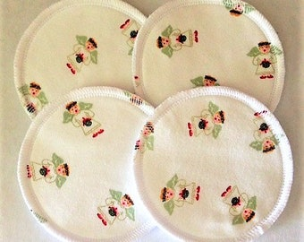 2 Pairs of Cloth Nursing Pads - Angels on White