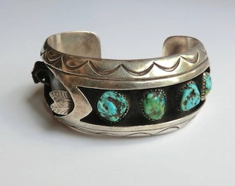 Vintage Womens Turquoise Silver Watch Cuff signed by N. Willie Chunky Turquoise Bold Cuff 55.3 Grams