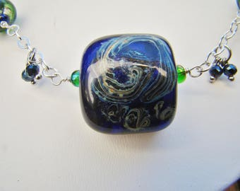 One of a Kind - Lamp Work Glass Bead Necklace  - Blue & Green