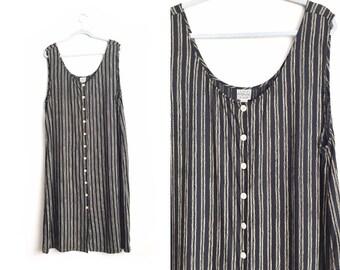 Size XL/1X // STRIPED JUMPER // Sleeveless Black Dress - Midi - Rayon - Button-Up - Low Scoop Neck - Oversized - Minimalist - Vintage '90s.