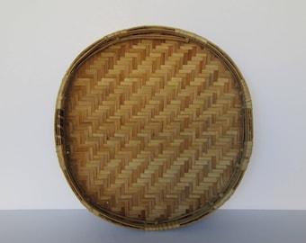 Woven Wicker Wall Decor Tray Basket