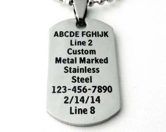 Dog Tag Necklace - PERSONALIZED Custom Laser Marked Stainless Steel - 9 Fonts Available - Symbols - Small and large pendants available
