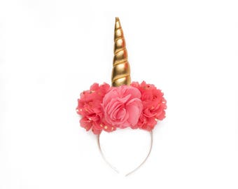 Coral + Gold  Unicorn  DIY DELUXE Headband Peony Shabby Chiffon Flowers | Great for  Princess Parties & Birthdays