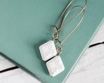 White vintage shabby chic style rustic earrings.